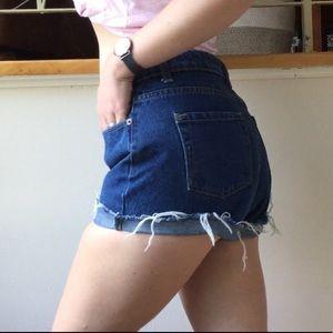 High Waist Dark Blue Frayed Jean Shorts